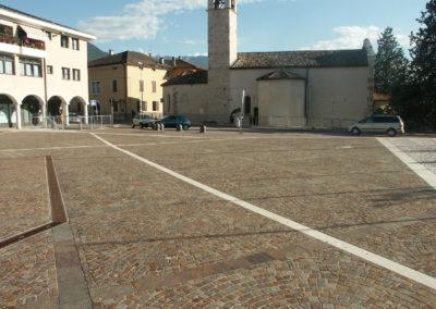 Réalisation avec pavés en porphyre Ligne Giotto Trento