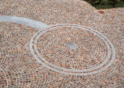 Pavé porphyre pose en cerces ligne Giotto résidence privé
