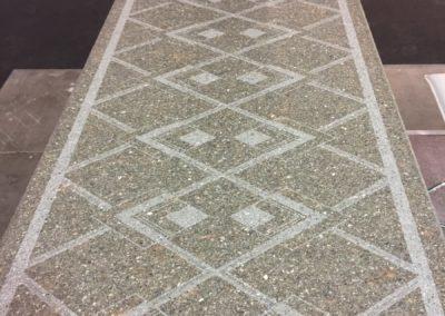 Realizzazione della texture porfido Pompei su piano spazzolato