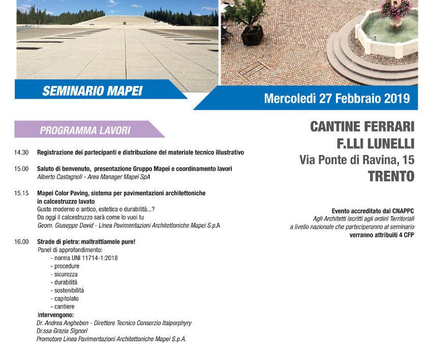"""Seminario """"Le moderne pavimentazioni architettoniche posate a norma"""""""
